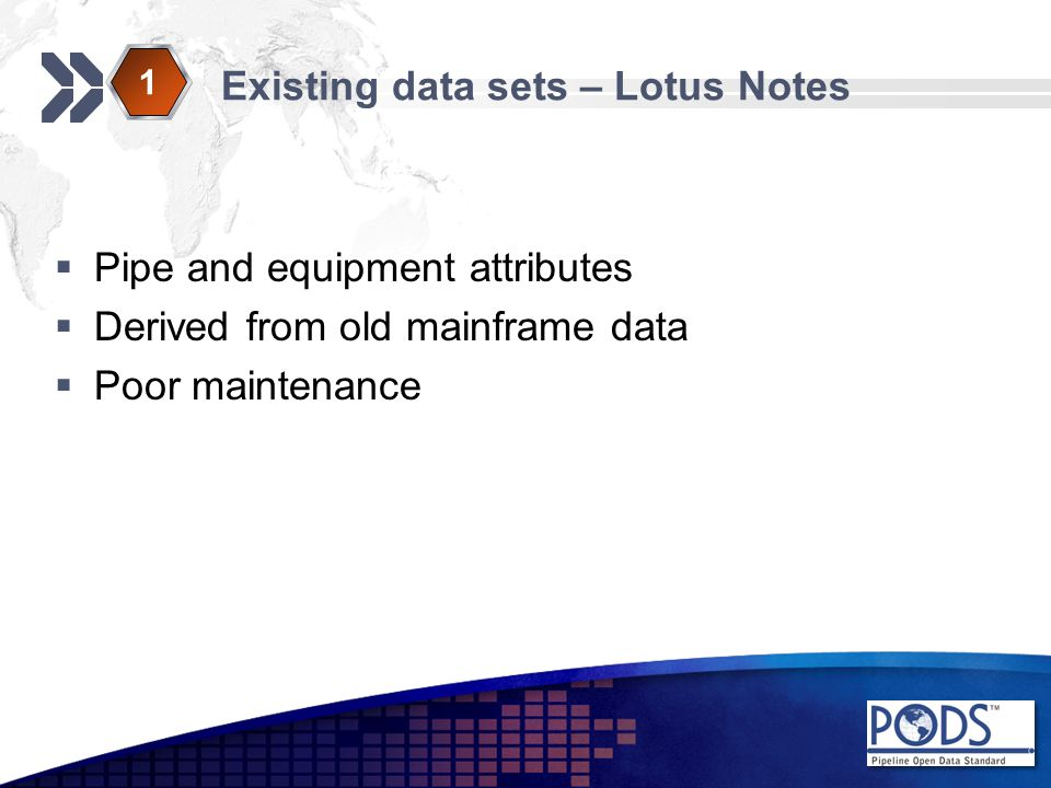 Existing data sets – Lotus Notes  Pipe and equipment attributes  Derived from old mainframe data  Poor maintenance 1