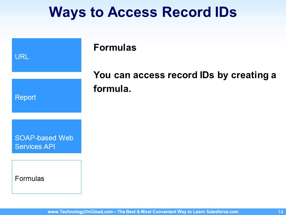 www.TechnologyOnCloud.com – The Best & Most Convenient Way to Learn Salesforce.com 14 Ways to Access Record IDs Formulas You can access record IDs by creating a formula.