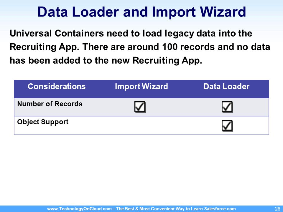 www.TechnologyOnCloud.com – The Best & Most Convenient Way to Learn Salesforce.com 26 Data Loader and Import Wizard Universal Containers need to load legacy data into the Recruiting App.