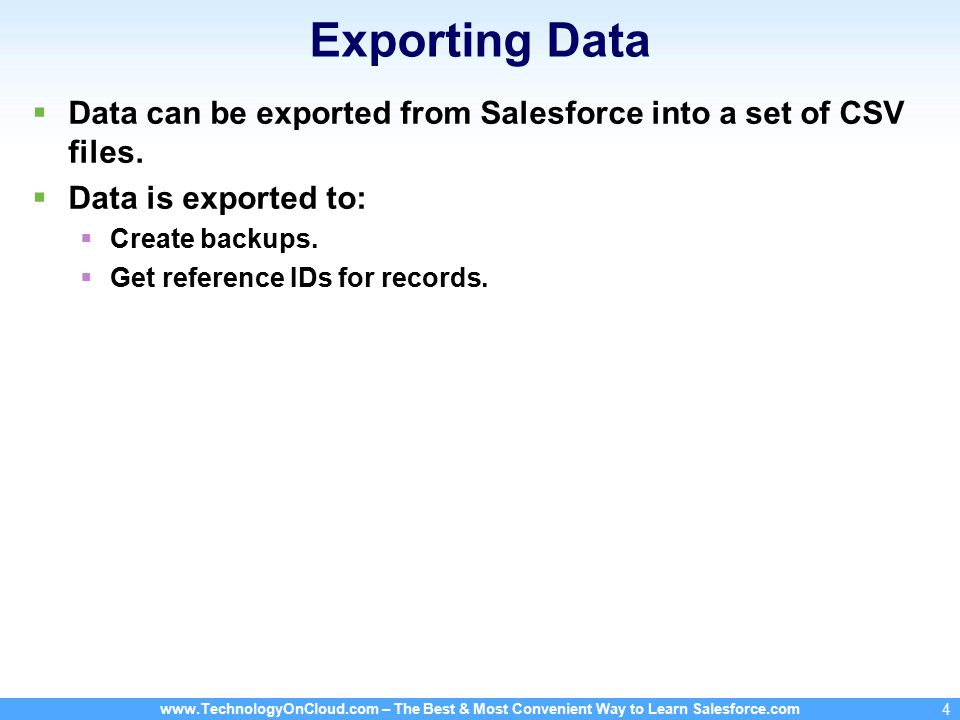 www.TechnologyOnCloud.com – The Best & Most Convenient Way to Learn Salesforce.com 15 Mass Transferring Records To transfer records, following permissions are required: Transfer Record or Transfer Lead .