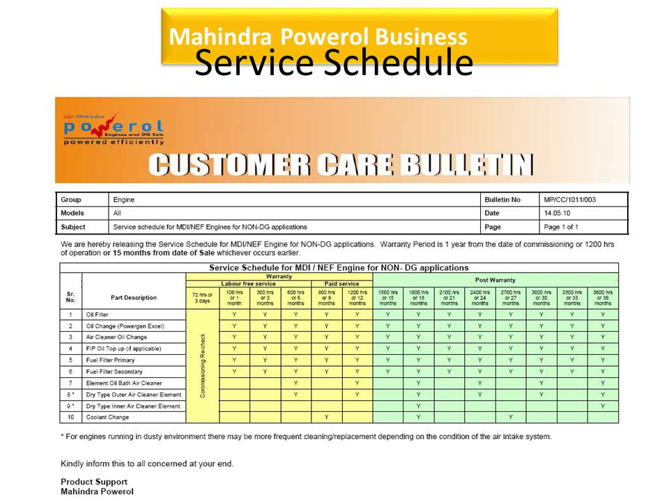 Mahindra Powerol Business Service Schedule