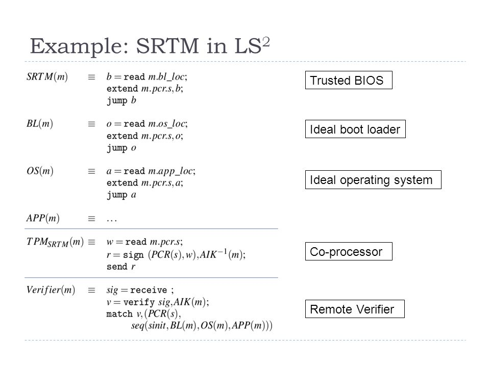 Example: SRTM in LS 2 Remote Verifier Trusted BIOS Co-processor Ideal boot loader Ideal operating system