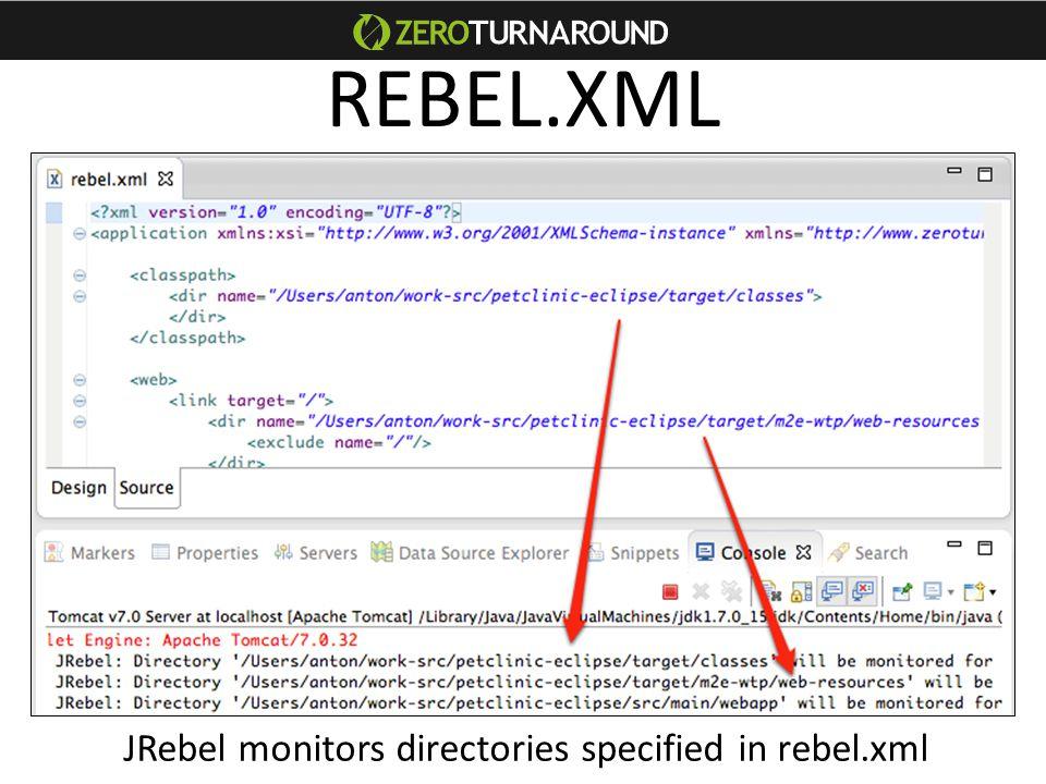 REBEL.XML JRebel monitors directories specified in rebel.xml