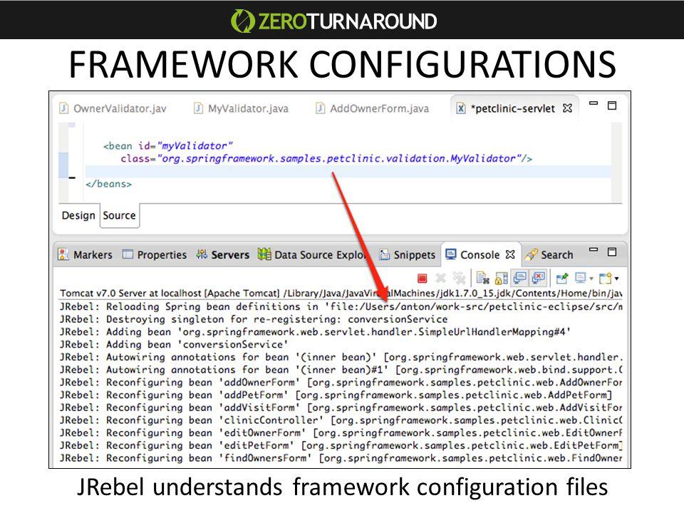 FRAMEWORK CONFIGURATIONS JRebel understands framework configuration files