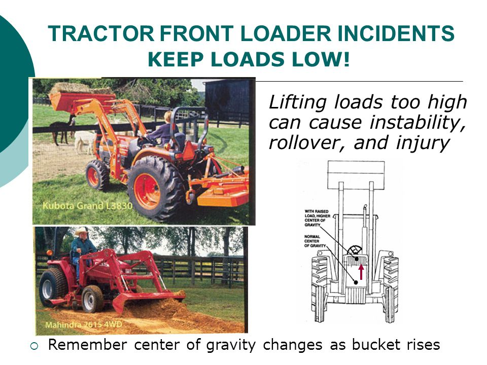 TRACTOR FRONT LOADER INCIDENTS Lifting loads too high can cause instability, rollover, and injury  Remember center of gravity changes as bucket rises