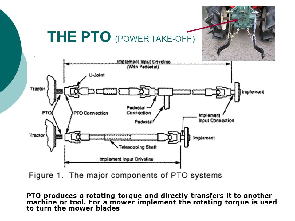 THE PTO (POWER TAKE-OFF) PTO produces a rotating torque and directly transfers it to another machine or tool. For a mower implement the rotating torqu