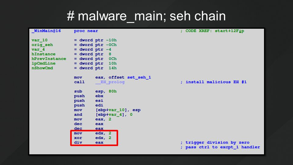 # malware_main; seh chain