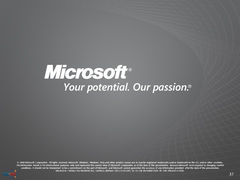 37 © 2008 Microsoft Corporation. All rights reserved.