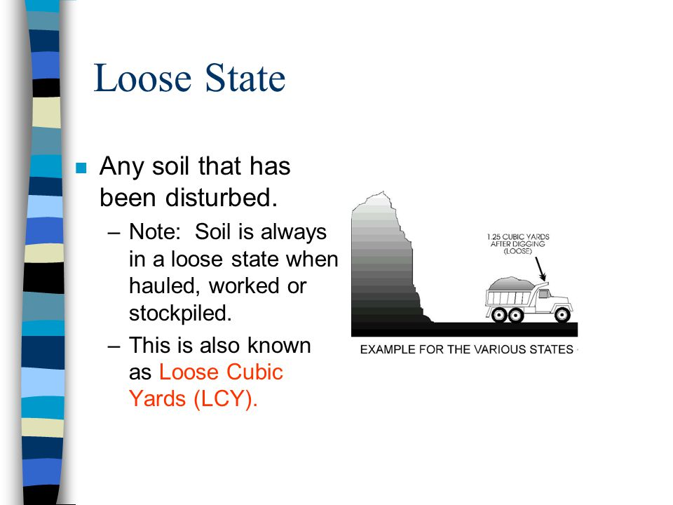 Bank State n Any soil that has not been disturbed from its natural state for at least ten years. –This is also known as Bank Cubic Yards (BCY).