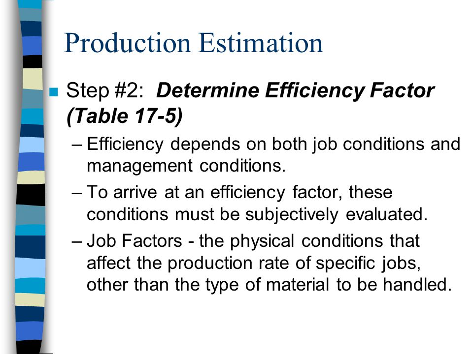 Production Estimation n Step #1: Determine Basic (Maximum) Production –Bucket size (CY) x Secs. working/hour Loader cycle time (Secs.) = Basic Product