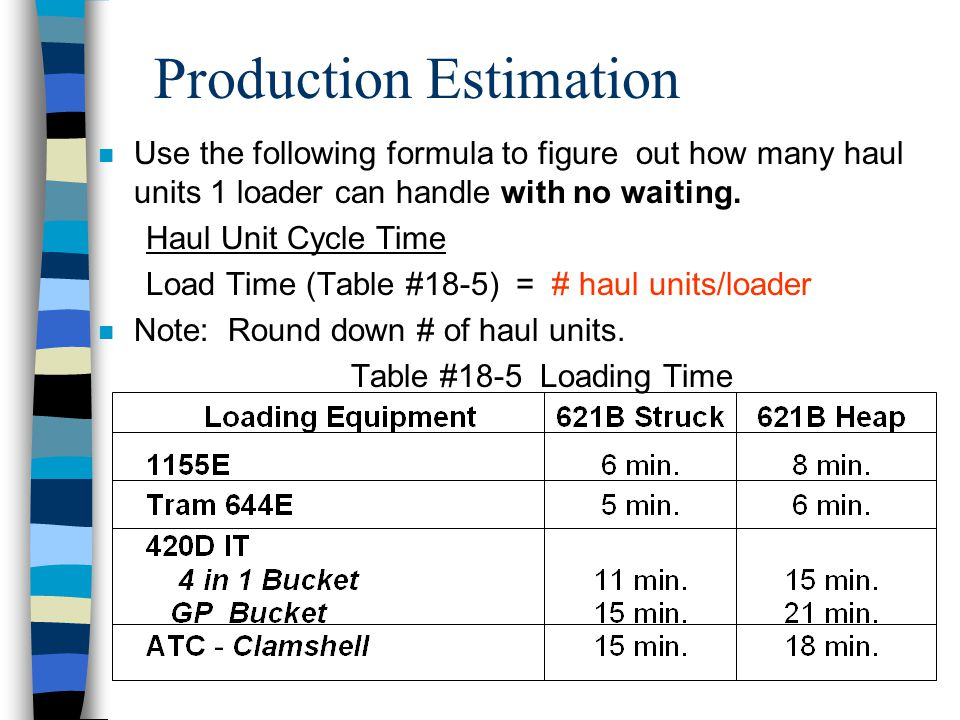 Production Estimation n Ratio of Loading Units to Hauling Units –You need to determine how many loaders is required to keep up with the haul units.
