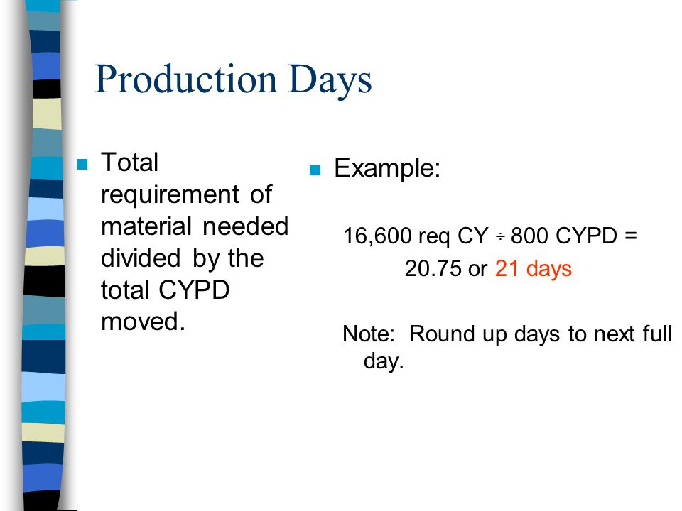 Cubic Yards Per Day (CYPD) n Total cubic yards moved per hour multiplied by the total hours worked per day. n Example: 100 CYPH x 8 hr work/day = 800