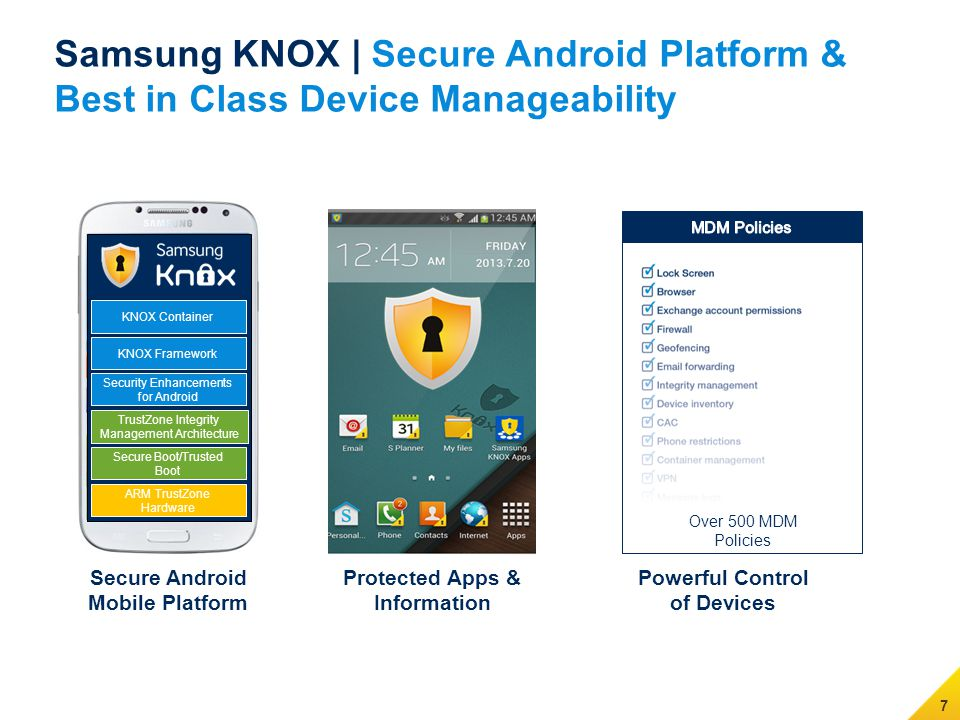 7 Samsung KNOX | Secure Android Platform & Best in Class Device Manageability Secure Android Mobile Platform Protected Apps & Information Powerful Control of Devices KNOX Container Security Enhancements for Android TrustZone Integrity Management Architecture Secure Boot/Trusted Boot ARM TrustZone Hardware KNOX Framework Over 500 MDM Policies