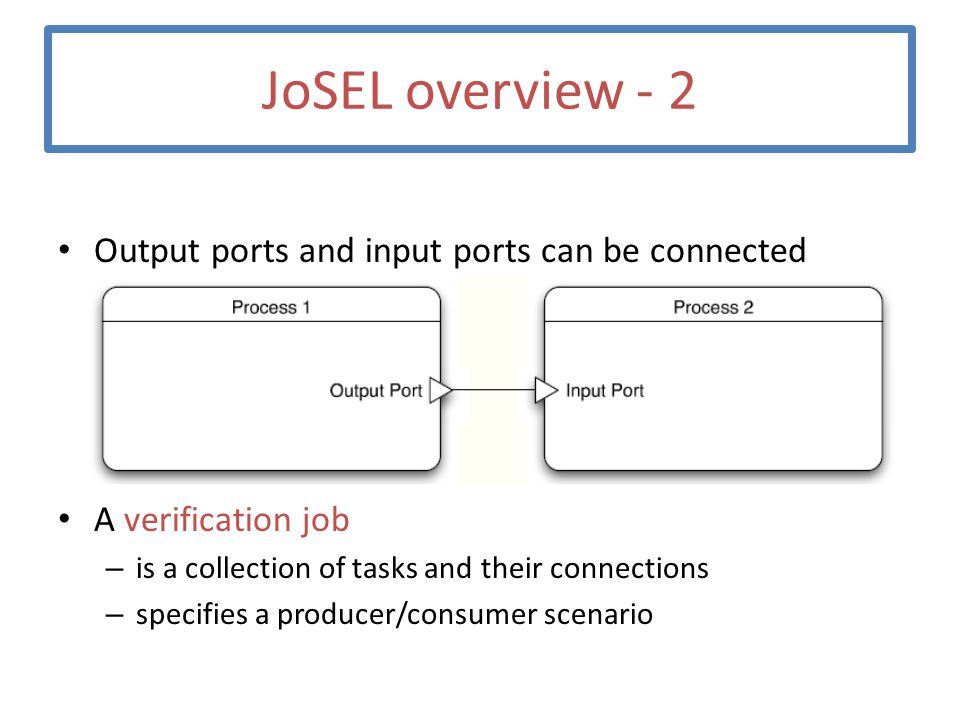 JoSEL overview - 2 Output ports and input ports can be connected A verification job – is a collection of tasks and their connections – specifies a pro
