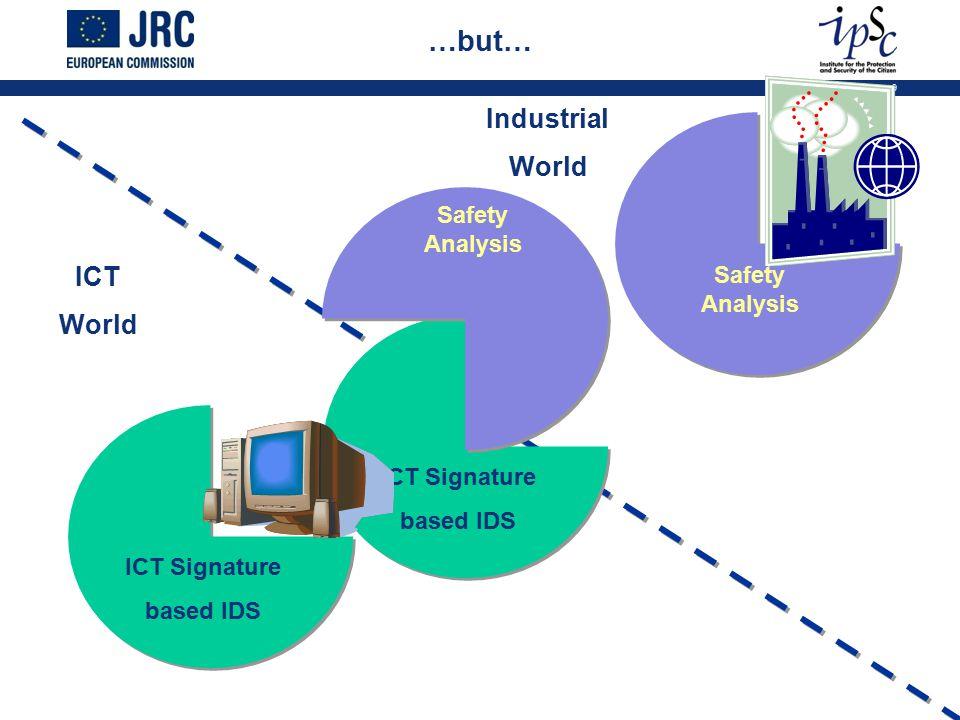 9 …but… ICT Signature based IDS Safety Analysis ICT Signature based IDS Safety Analysis ICT World Industrial World
