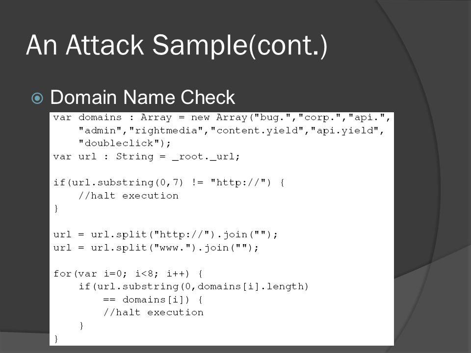An Attack Sample(cont.)  Domain Name Check