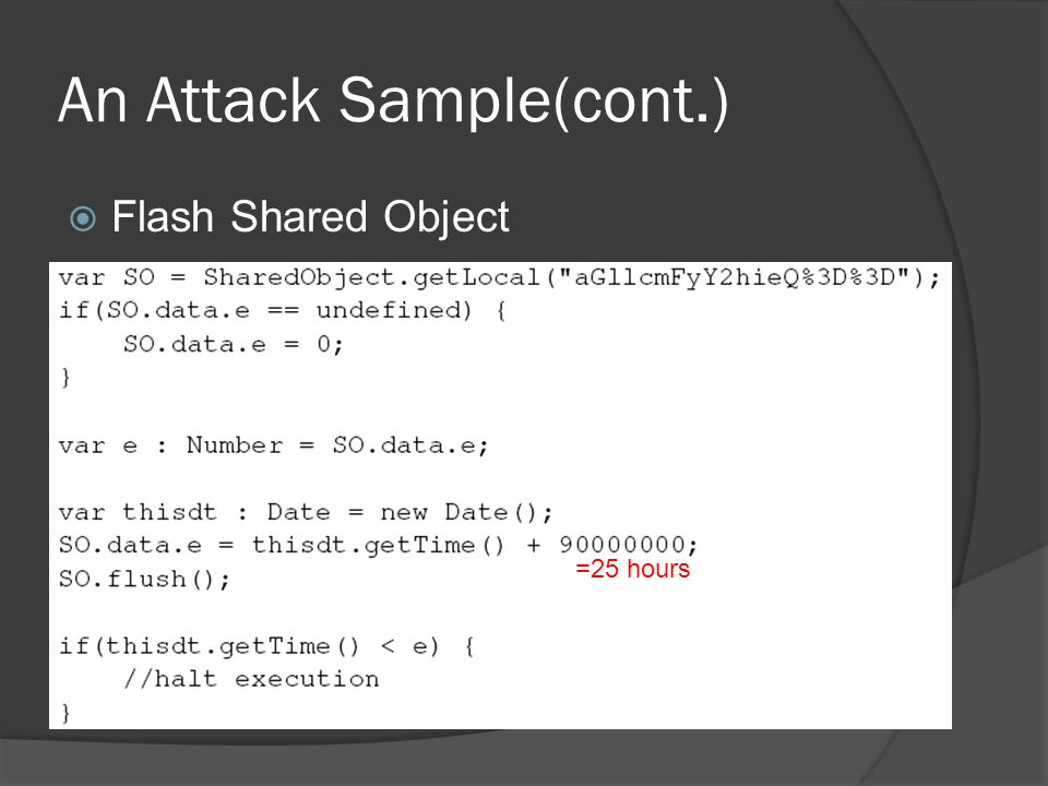 An Attack Sample(cont.)  Flash Shared Object =25 hours