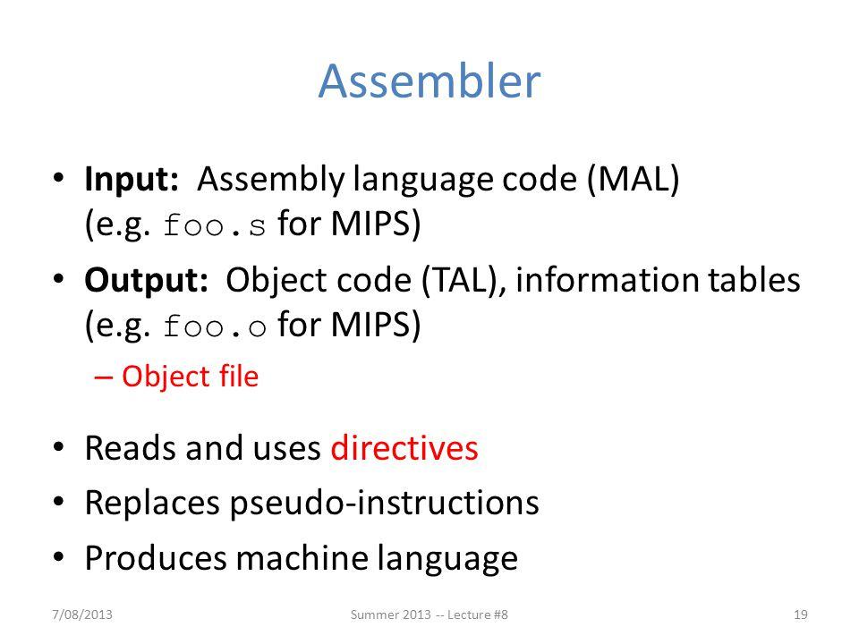Input: Assembly language code (MAL) (e.g.