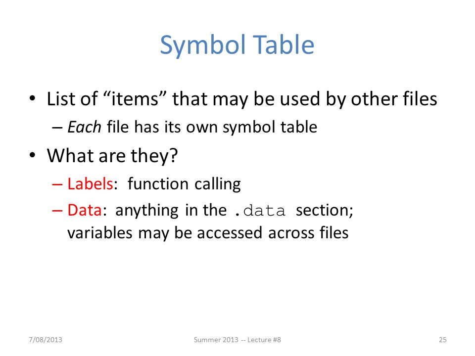 Symbol Table List of items that may be used by other files – Each file has its own symbol table What are they.