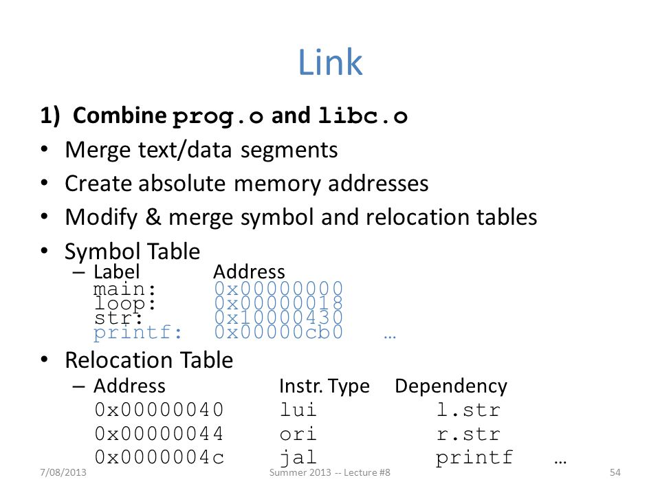 1) Combine prog.o and libc.o Merge text/data segments Create absolute memory addresses Modify & merge symbol and relocation tables Symbol Table – Label Address main:0x00000000 loop:0x00000018 str:0x10000430 printf:0x00000cb0 … Relocation Table – AddressInstr.