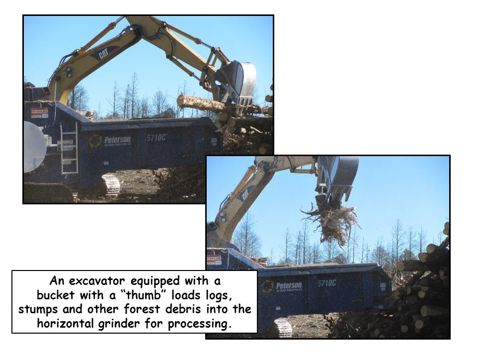 """An excavator equipped with a bucket with a """"thumb"""" loads logs, stumps and other forest debris into the horizontal grinder for processing."""