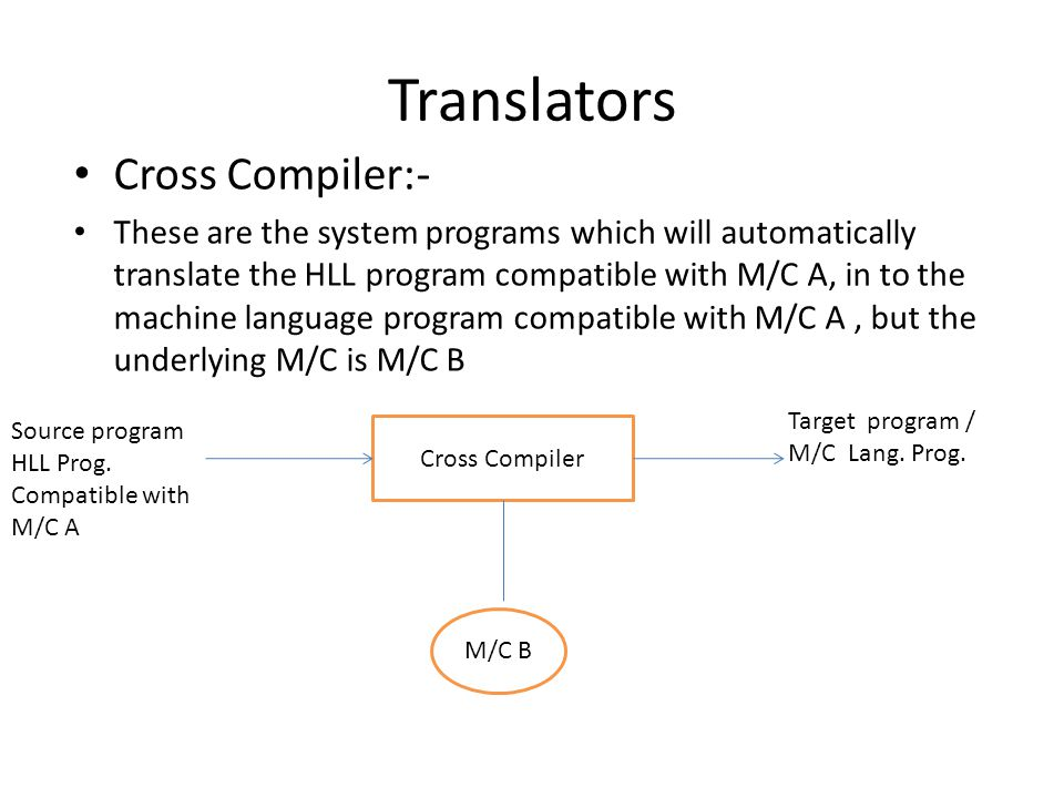 Translators Cross Compiler:- These are the system programs which will automatically translate the HLL program compatible with M/C A, in to the machine language program compatible with M/C A, but the underlying M/C is M/C B Cross Compiler Source program HLL Prog.