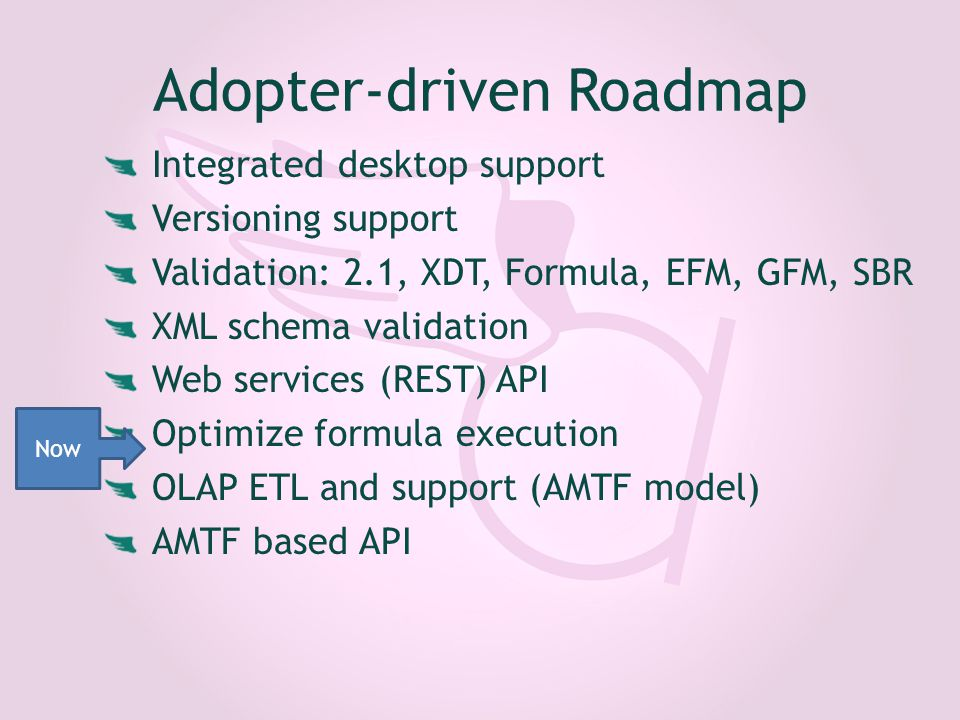 Adopter-driven Roadmap Integrated desktop support Versioning support Validation: 2.1, XDT, Formula, EFM, GFM, SBR XML schema validation Web services (REST) API Optimize formula execution OLAP ETL and support (AMTF model) AMTF based API Now