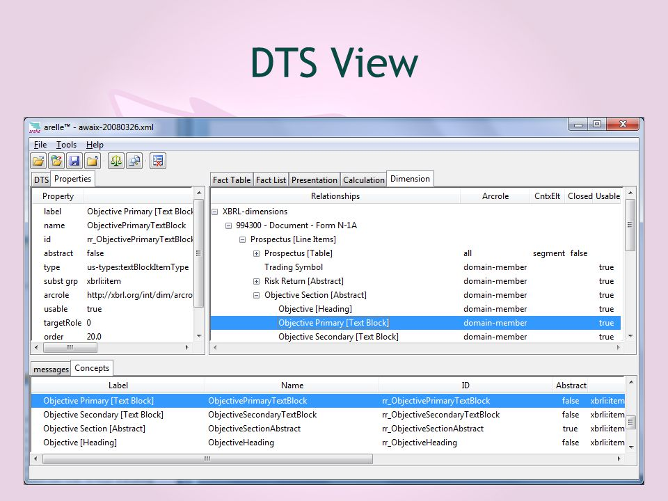 DTS View screenshot