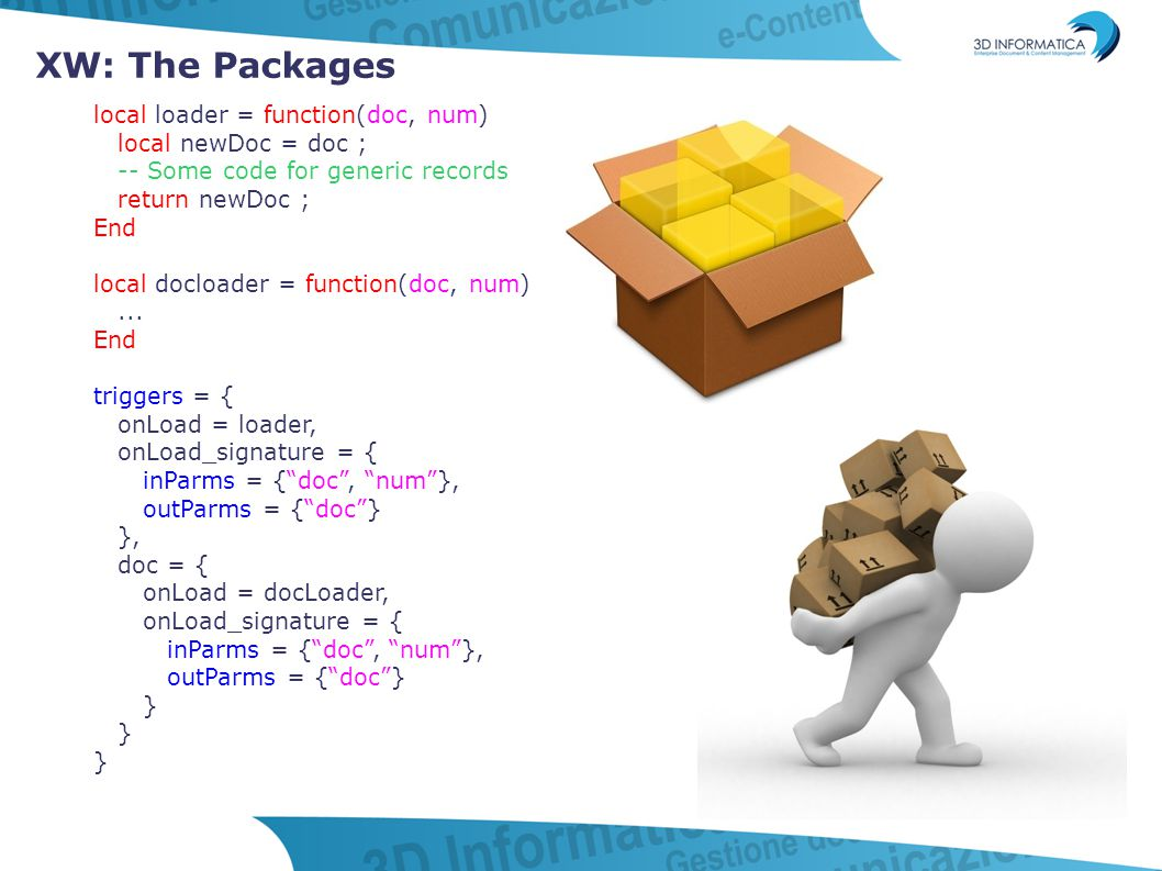 XW: The Packages local loader = function(doc, num) local newDoc = doc ; -- Some code for generic records return newDoc ; End local docloader = functio