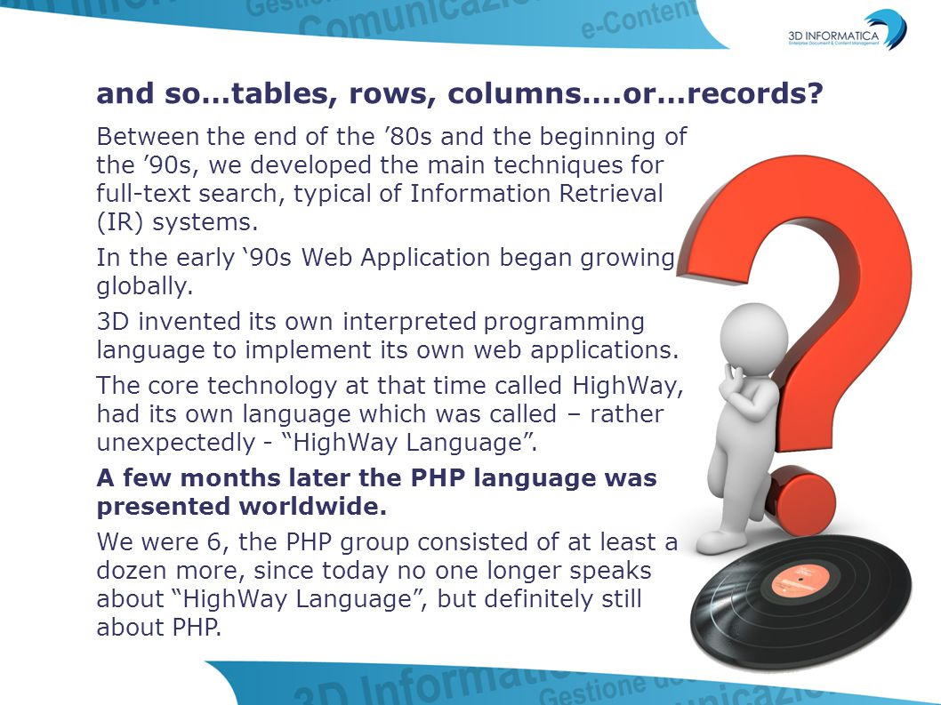The end of the '90s: leaving rigid structure…extend our vision worldwide Approaching the end of the 90s, and while everyone was afraid of the millennium bug, our minds were full of other thoughts…we strongly needed a major change.