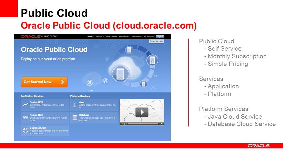 Public Cloud Oracle Public Cloud (cloud.oracle.com) Public Cloud -Self Service -Monthly Subscription -Simple Pricing Services -Application -Platform Platform Services -Java Cloud Service -Database Cloud Service