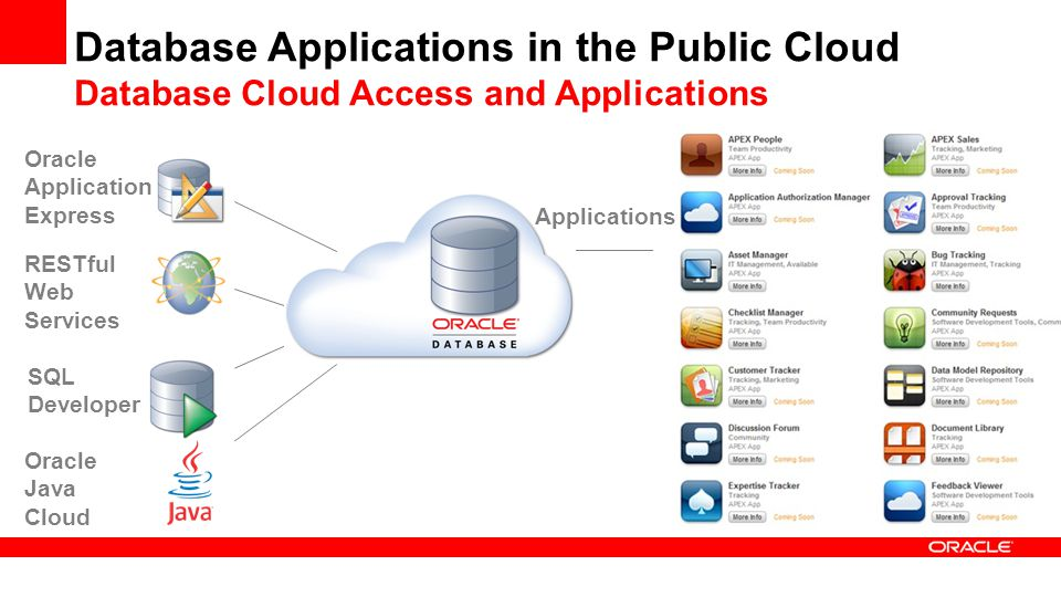 Database Applications in the Public Cloud Database Cloud Access and Applications RESTful Web Services Oracle Java Cloud SQL Developer Oracle Application Express Applications