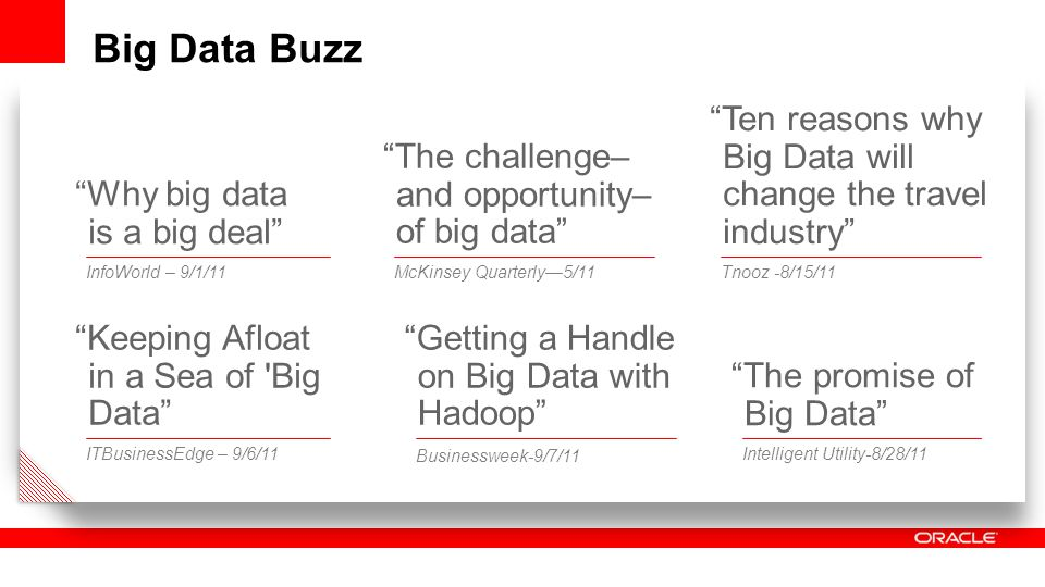 Big Data Buzz Keeping Afloat in a Sea of Big Data ITBusinessEdge – 9/6/11 Why big data is a big deal InfoWorld – 9/1/11 The challenge– and opportunity– of big data McKinsey Quarterly—5/11 Getting a Handle on Big Data with Hadoop Businessweek-9/7/11 Ten reasons why Big Data will change the travel industry Tnooz -8/15/11 The promise of Big Data Intelligent Utility-8/28/11