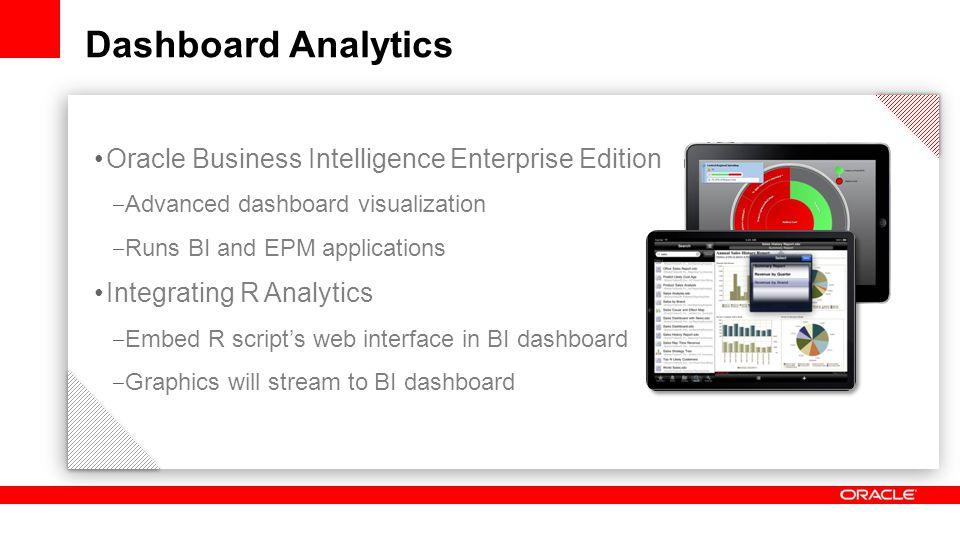 Dashboard Analytics Oracle Business Intelligence Enterprise Edition ‒ Advanced dashboard visualization ‒ Runs BI and EPM applications Integrating R Analytics ‒ Embed R script's web interface in BI dashboard ‒ Graphics will stream to BI dashboard