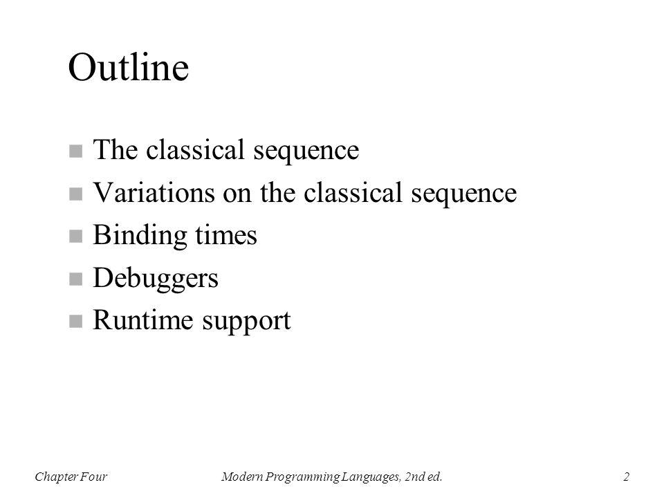 Chapter FourModern Programming Languages, 2nd ed.13 loader xxxx i 0 xx i x xxxxxx xxxx i x fred xxxx i xxxxxx i: main: fred: xxxxxx xxxx 80 0 xx 80 x xxxxxx xxxx 80 x 60 xxxx 80 xxxxxx 20: 60: xxxxxx 0: (main) (fred) 80: (i)