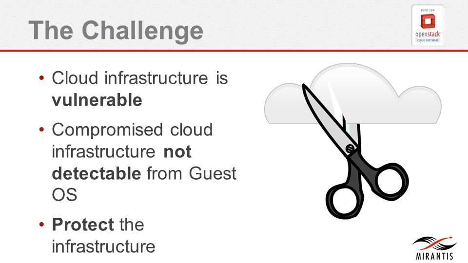 The Challenge Cloud infrastructure is vulnerable Compromised cloud infrastructure not detectable from Guest OS Protect the infrastructure