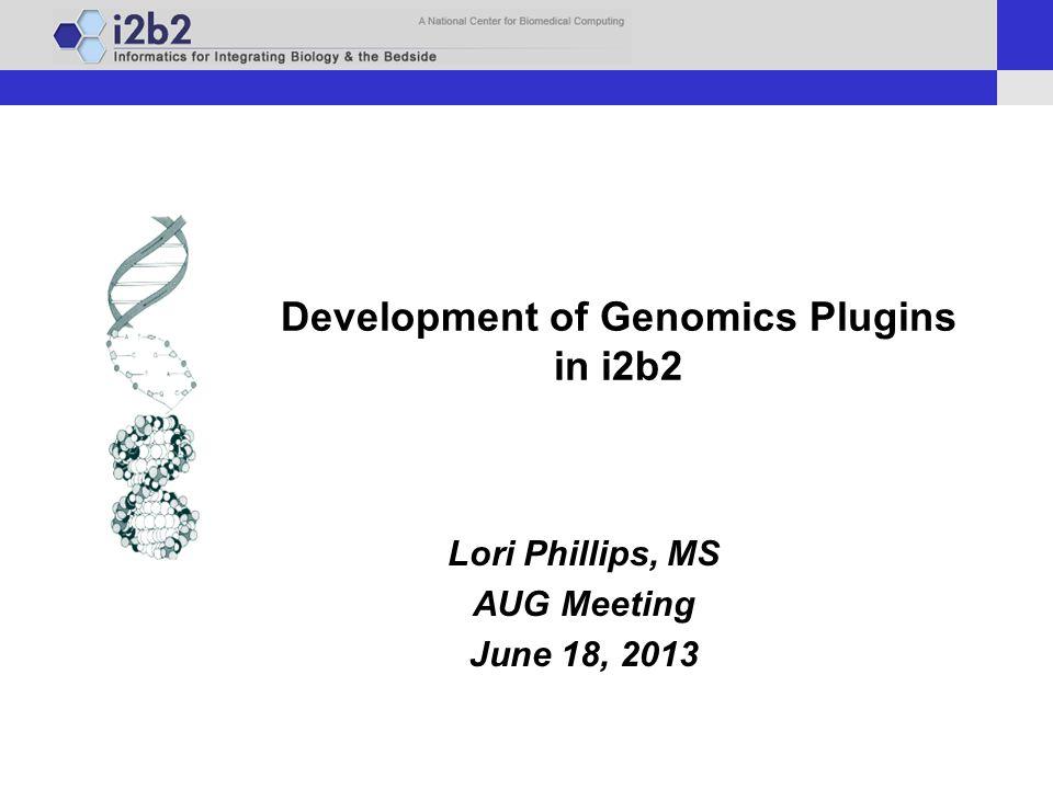 Development of Genomics Plugins in i2b2 Lori Phillips, MS AUG Meeting June 18, 2013