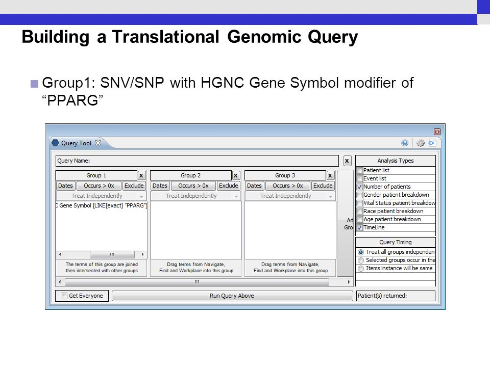 "Building a Translational Genomic Query Group1: SNV/SNP with HGNC Gene Symbol modifier of ""PPARG"""