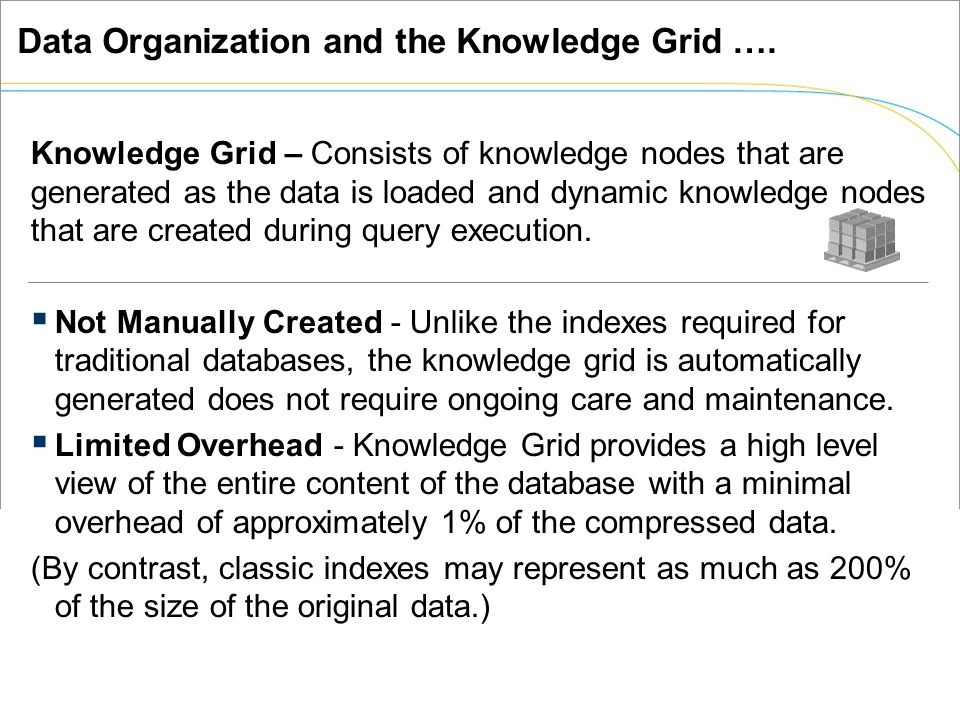 Knowledge Grid – Consists of knowledge nodes that are generated as the data is loaded and dynamic knowledge nodes that are created during query execution.