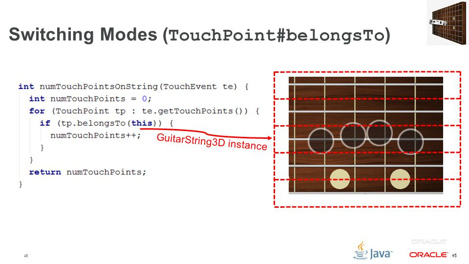 45 Switching Modes ( TouchPoint#belongsTo ) GuitarString3D instance