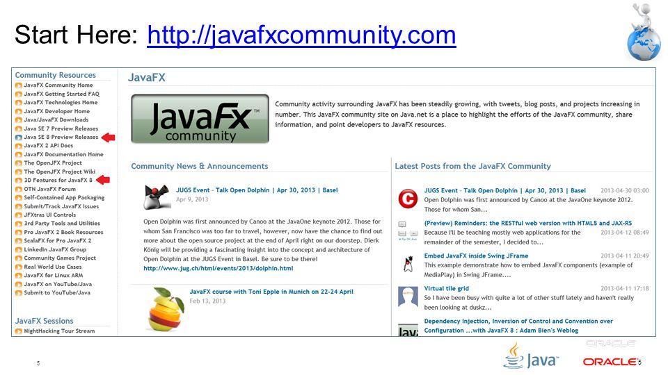 5 5 Start Here: http://javafxcommunity.comhttp://javafxcommunity.com
