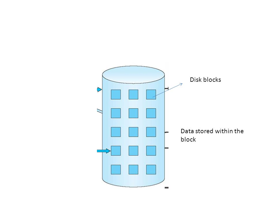 Disk blocks Data stored within the block