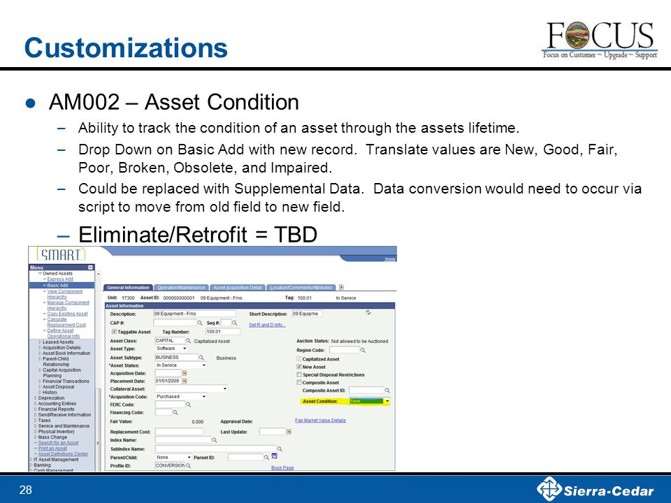 28 Customizations ●AM002 – Asset Condition –Ability to track the condition of an asset through the assets lifetime.
