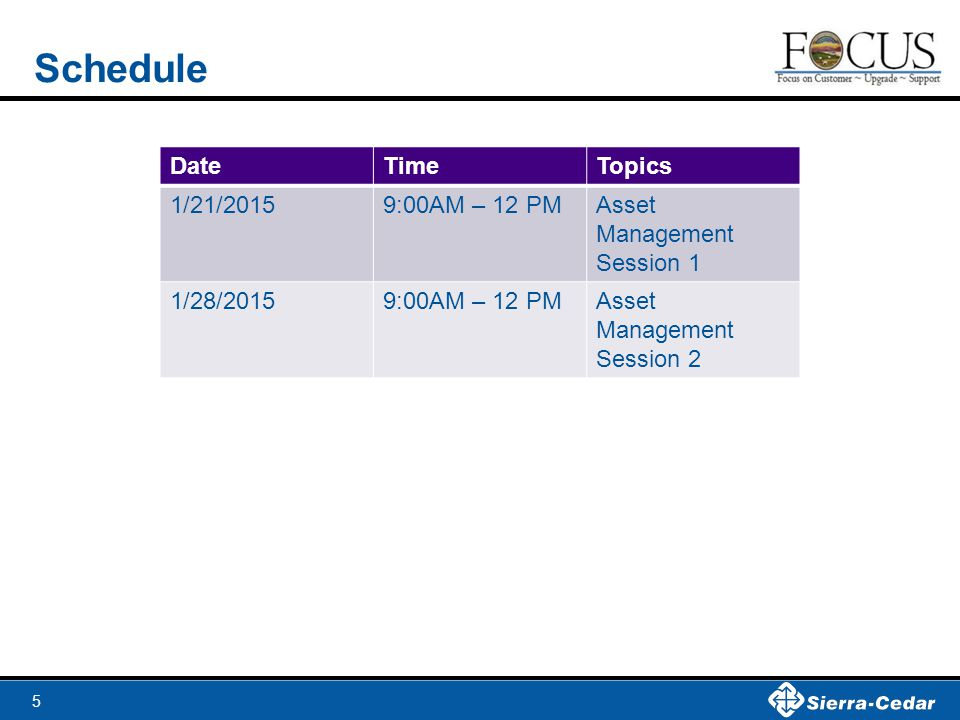 5 Schedule DateTimeTopics 1/21/20159:00AM – 12 PMAsset Management Session 1 1/28/20159:00AM – 12 PMAsset Management Session 2