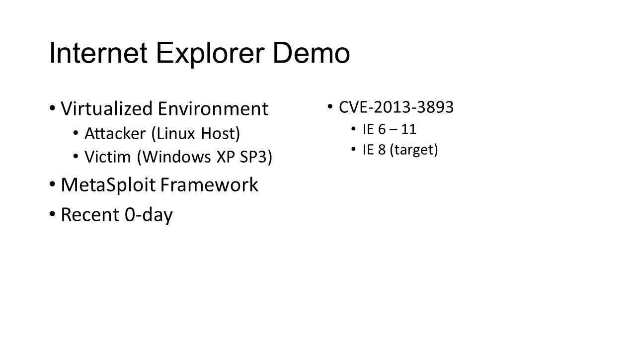Internet Explorer Demo Virtualized Environment Attacker (Linux Host) Victim (Windows XP SP3) MetaSploit Framework Recent 0-day CVE-2013-3893 IE 6 – 11 IE 8 (target)