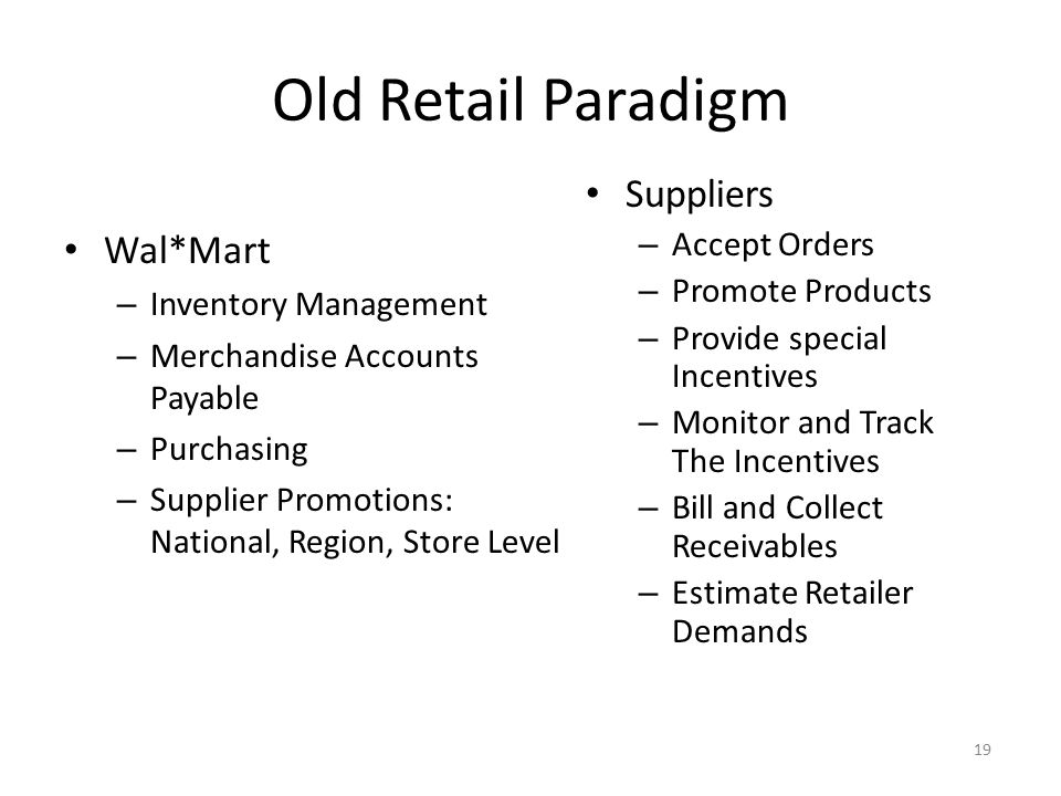 19 Old Retail Paradigm Wal*Mart – Inventory Management – Merchandise Accounts Payable – Purchasing – Supplier Promotions: National, Region, Store Leve