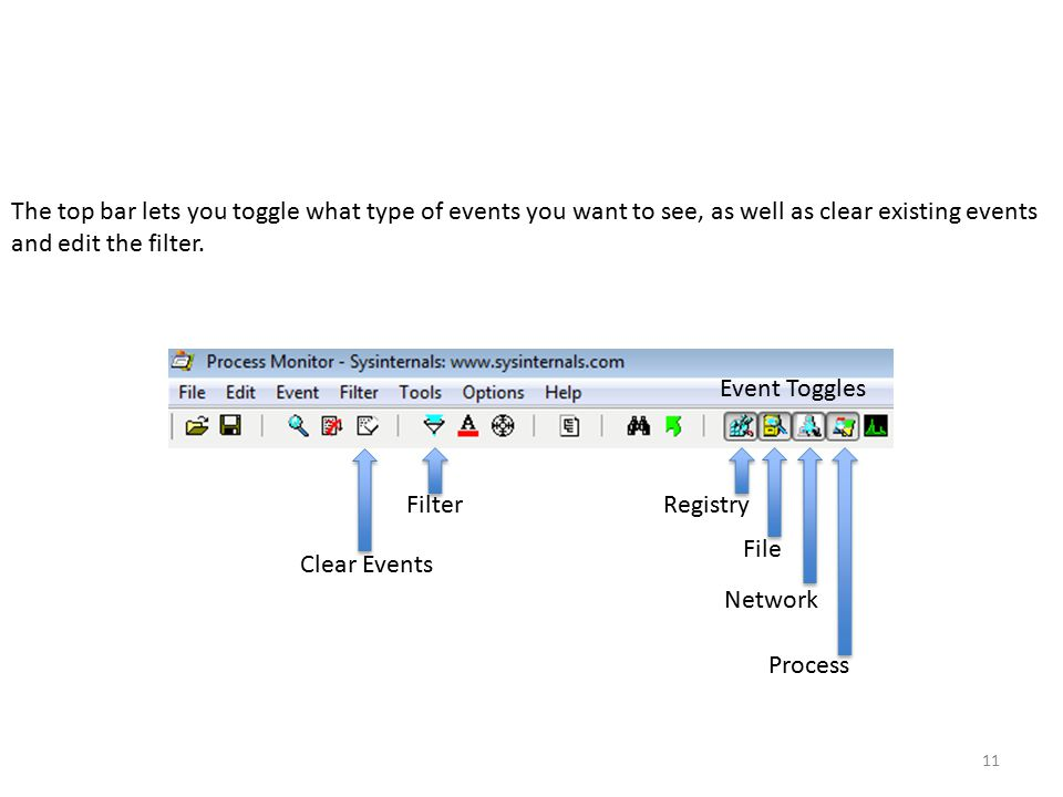 11 Registry File Network Process The top bar lets you toggle what type of events you want to see, as well as clear existing events and edit the filter