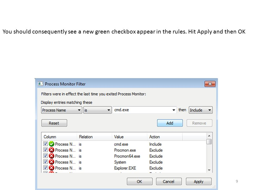 9 You should consequently see a new green checkbox appear in the rules. Hit Apply and then OK
