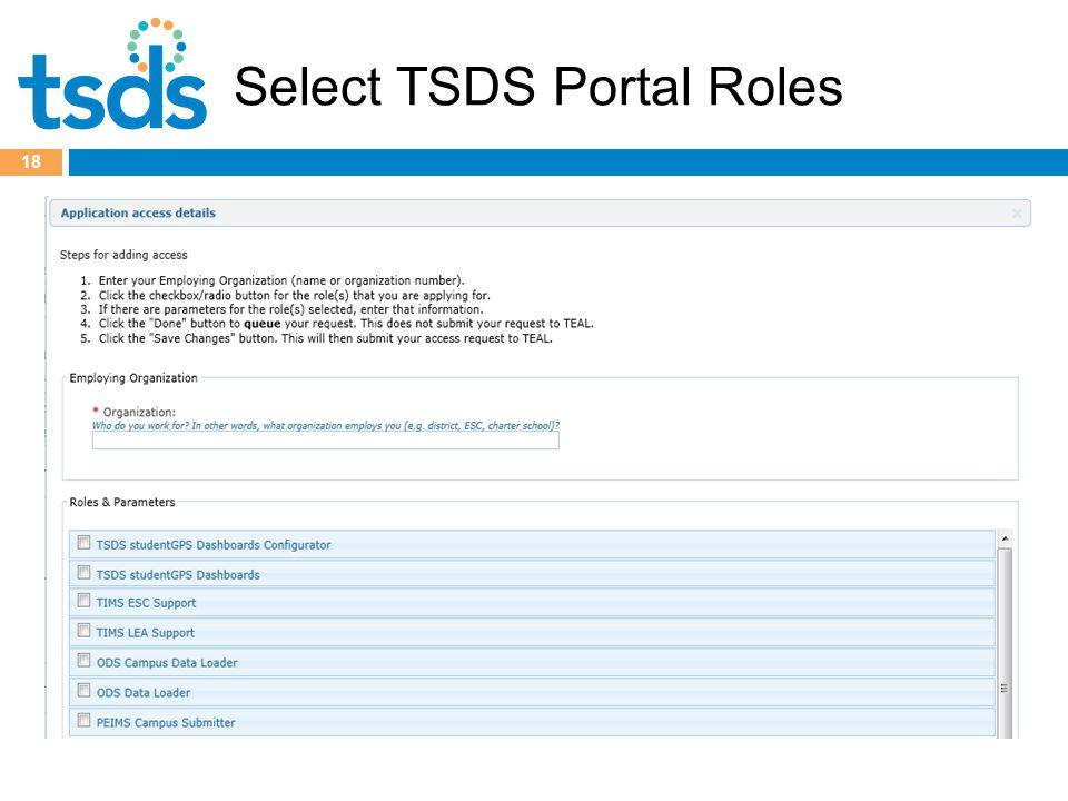 Select TSDS Portal Roles 18