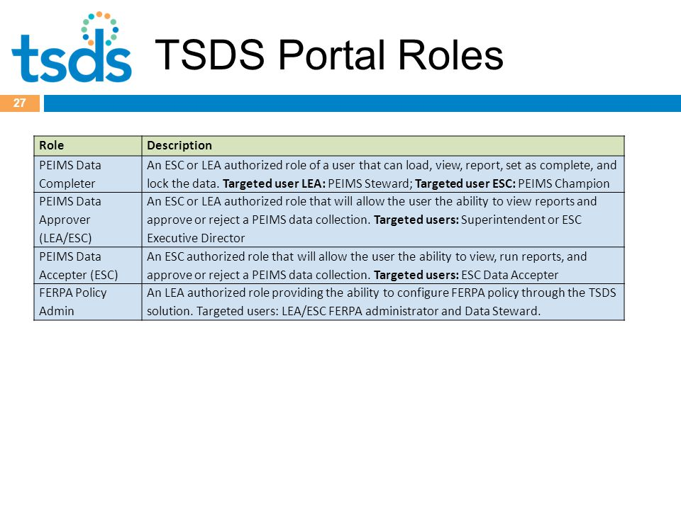 TSDS Portal Roles 27 RoleDescription PEIMS Data Completer An ESC or LEA authorized role of a user that can load, view, report, set as complete, and lock the data.